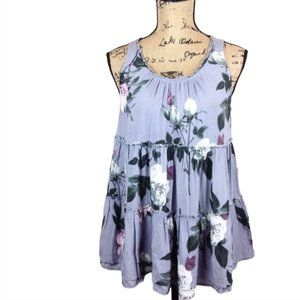 Entro Tank A LIne Gray Floral Tiered Flowy Top